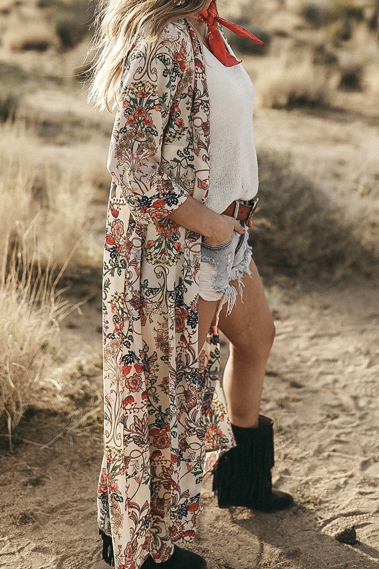 floral duster in desert