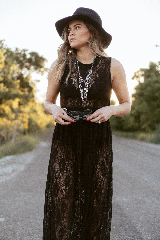 bohemian lace dress and jewelry