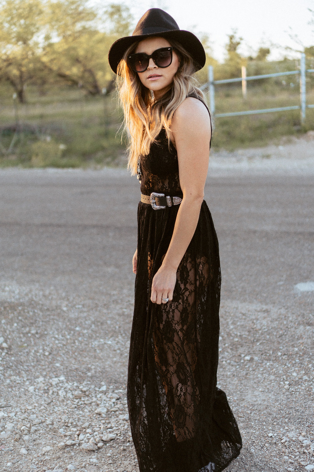 bohemian lace see through dress