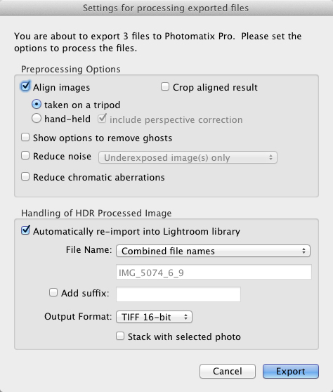 Photomatix import settings for importing shots taken on a tripod.