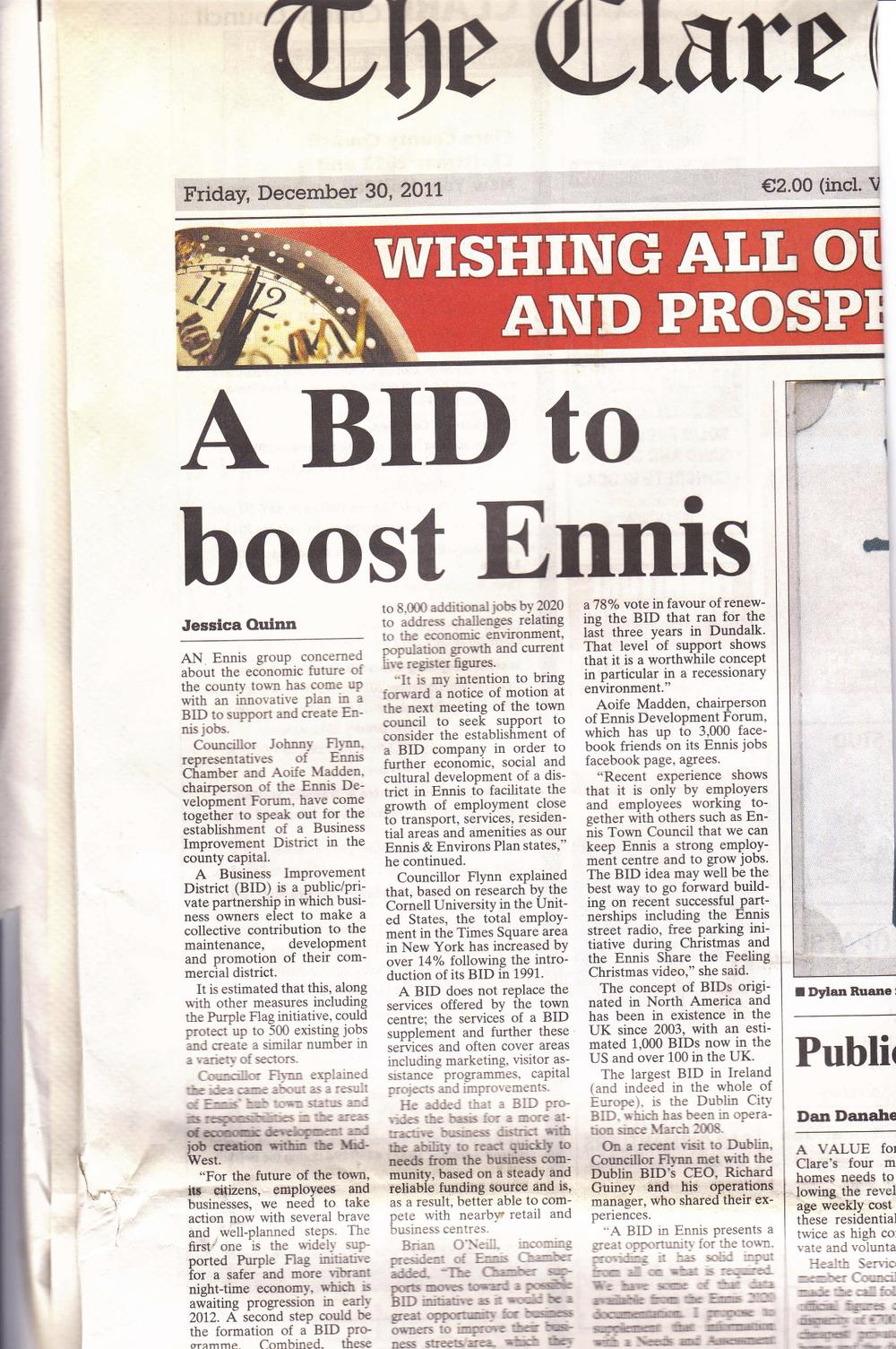 A BID to boost Ennis