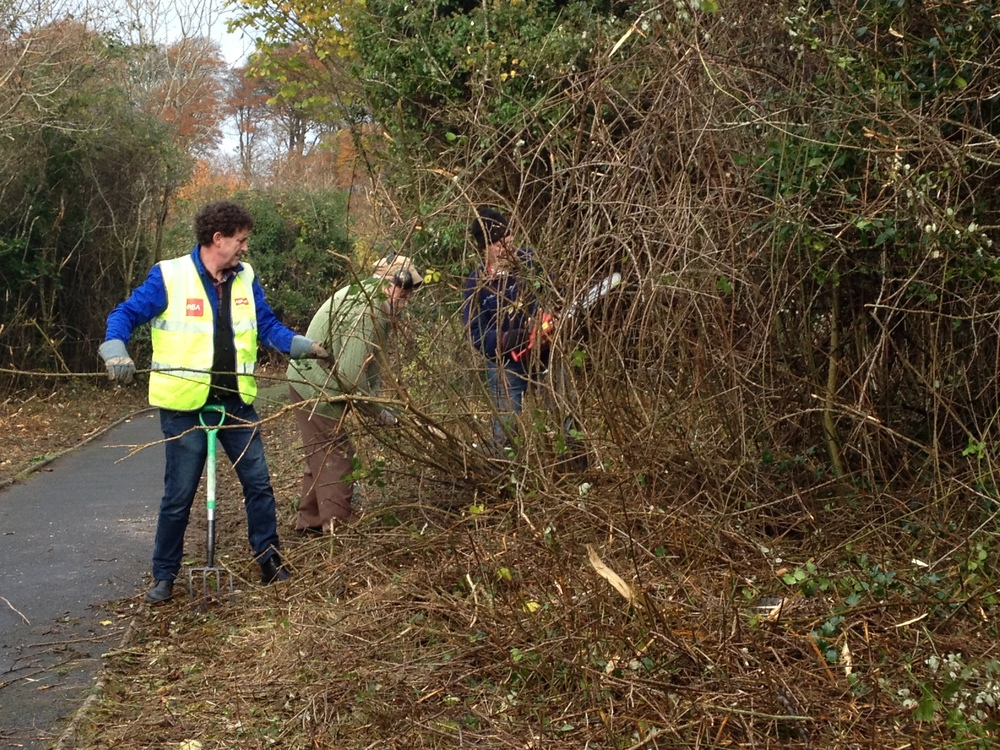 Cllr. Flynn cleaning up at Ballyalla lake with residents.JPG