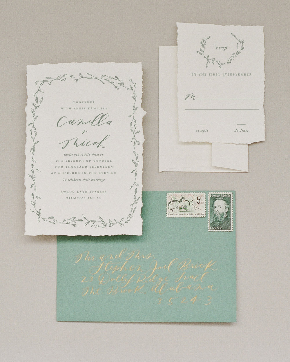 Camilla Invitation in Olive Ink on Hand Torn Paper paired with added colored envelope in Cactus.