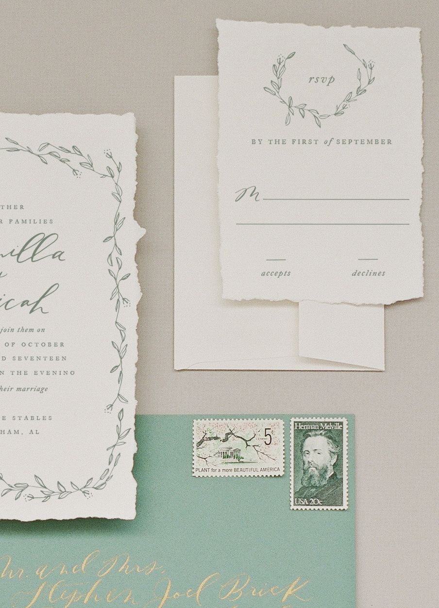 Camilla Invitation & RSVP in Olive Ink on Hand Torn Paper paired with Standard Response Envelope