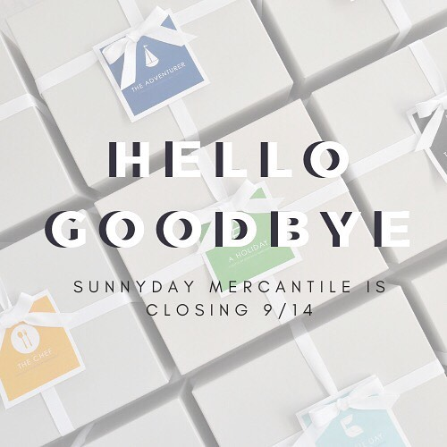 "H e l l o  S u n n i e s , I reach out to you today to announce that, after three years of gifting, Sunnyday Mercantile will be closing our virtual ""doors"" this Friday, September 13 2018.  This decision has been in the works for some time as plans to move abroad have been bubbling and brewing.  Life and Love is taking me to the great North, and I am thrilled to be Canada bound! 🇨🇦 . Some of my favorite gift items have been added to the online shop and this week you will have the opportunity to score some amazing deals on the last bit of inventory we have in stock.  Sparklers, body scrubs and cookbooks!  Put together your own curation for someone special, stock up on your favorites or get yourself something pretty! . To say thank you for your loyalty and support we are offering an additional 20% off your entire purchase.  Use code GOODBYE20 at checkout . While I don't know what the next reinvention of Sunnyday will be, I do know there will be one.  Until then, continue to check in with the BLOG where I'm excited to get back to the roots of where SDM started, sharing stories of the people, places, and things that make life most S U N N Y. . It has been my humble honor and truest privilege to serve you.  Thank you from the bottom of my heart. Love + Light 💛☀️"