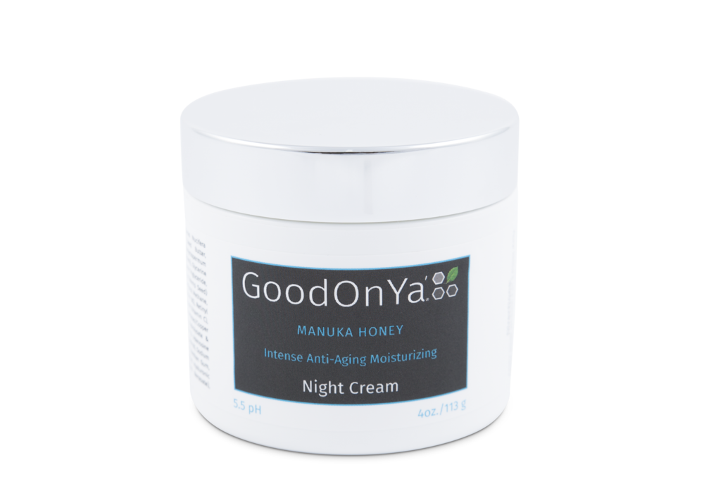 Night Cream At night your skin switches into its repair mode, unlike in the day when it is in protect mode. Our organic ingredients support your skin's nighttime cycle while promoting and maintaining a healthy complexion. GoodOnYa's Night Cream ingredients aid in the regeneration process and help skin with its normal functions. Fight signs of aging such as wrinkles, crows feet, and large pores with our deep hydration formula.