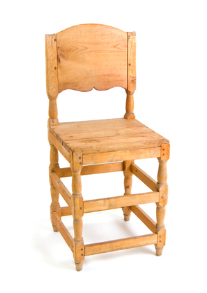 19th C Swedish Rustic Pine Chair With Curved Back Swedish