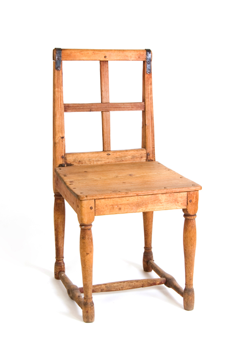 19th C. Swedish Farm Chair With Cross Back. Pine Traces Of Blue Paint