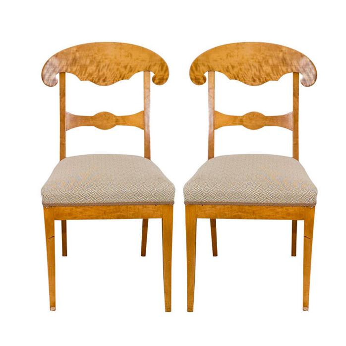 Pair Of Swedish Birch Biedermeier Style Chairs
