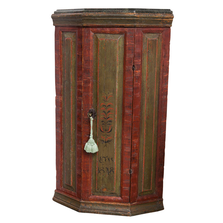 19th C. Finnish Green And Red Painted Corner Cabinet