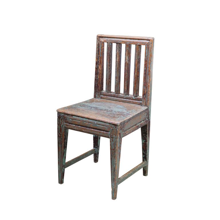 19th Century Finnish Slat Back Farm Chair