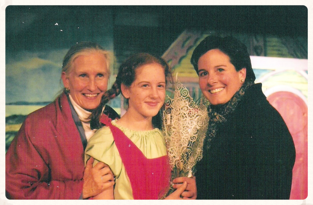 Me with my mommies (Carla on the left and Gigi on the right), after opening night of Pippi Longstocking.  I played the title role.