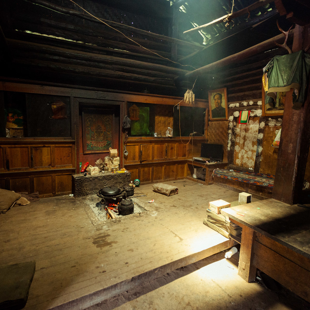 The interior of a traditional Mosuo home.