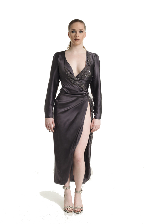 Marilyn Long Silk Dress w/ Lace Detail — ENVIED BY EVERYONE BY JURRIA