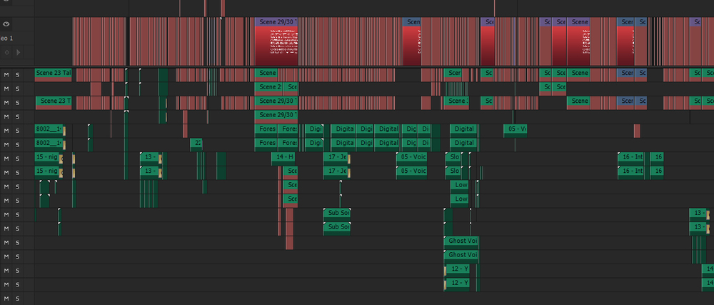 Multiple layers of audio. I didn't load all the footage for the screenshot so that's why all the offline markers in the timeline. Everything was edited in Premiere.