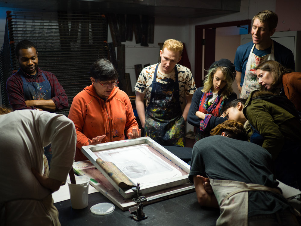 Screen printing workshop with instructor Marsha Shaw of Mission Grafica