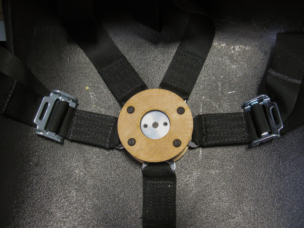 Prototype of the buckle enclosure showing the custom cover plate with keyed holes