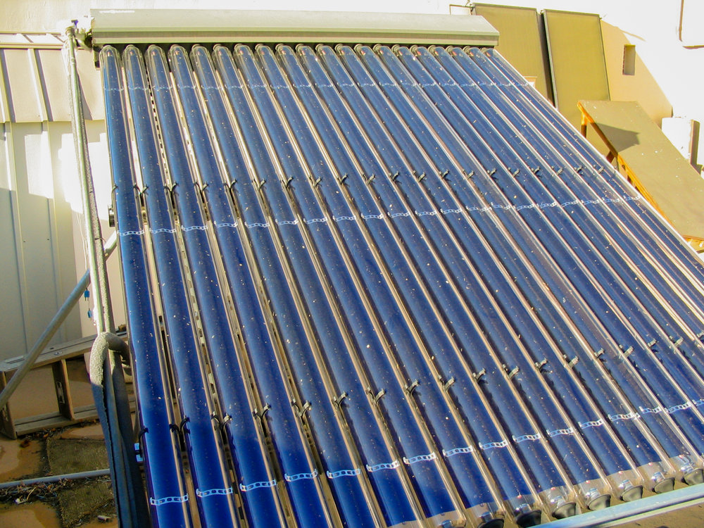 An indirect circulation solar water heater that uses a separate heating fluid and heat exchanger