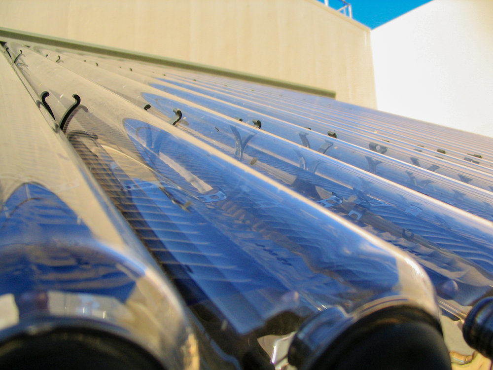 Close up of the indirect circulation solar water heater. These tubes are filled with glycerin, which act as the heat exchanging fluid.