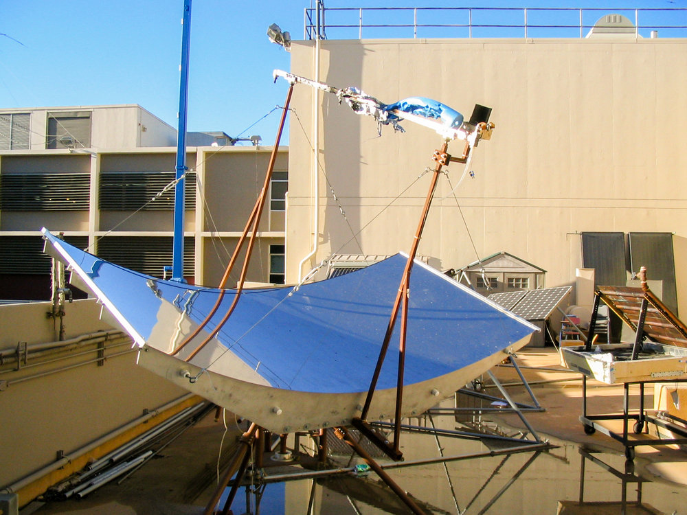 Parabolic heliostat which generates electricity by heating a fluid in the receiver unit which then spins a turbine using the generated steam