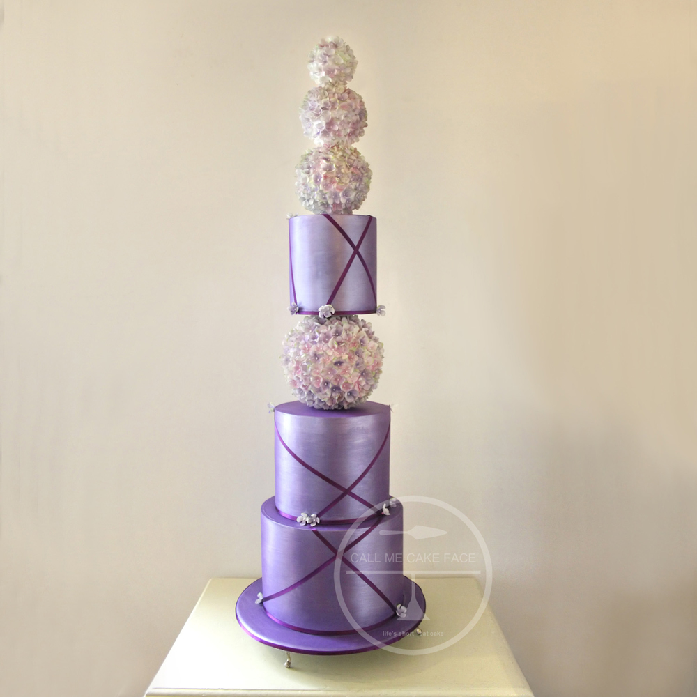 Violet Hydrangea Wedding Cake