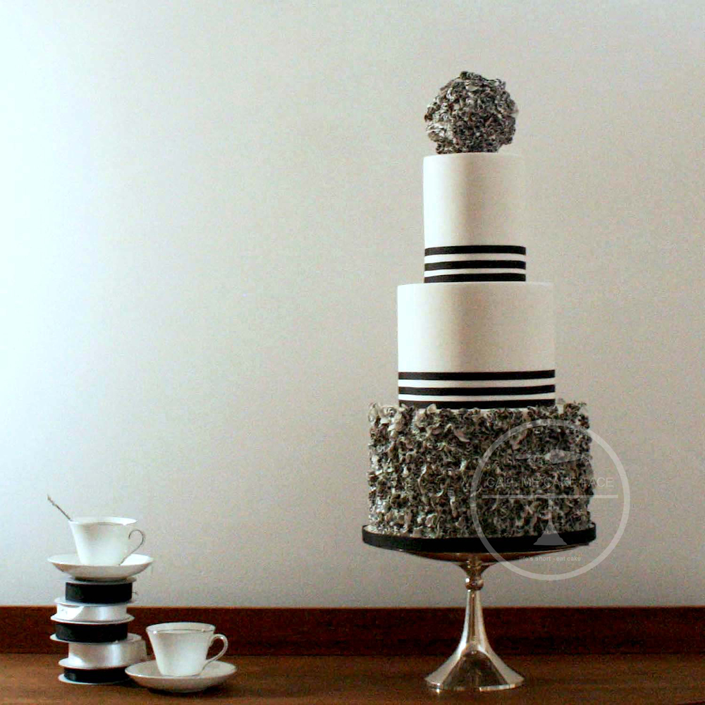 Black and White Filigree Wedding Cake