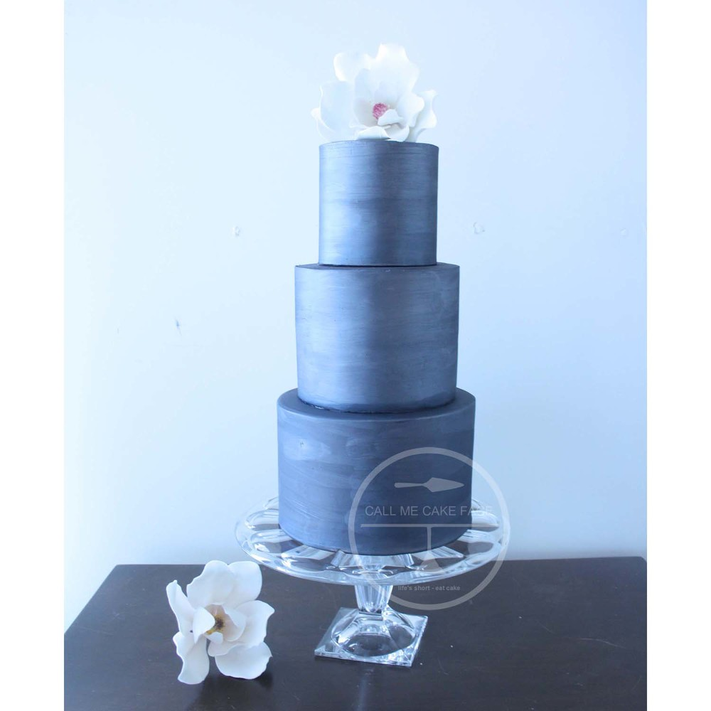 Black Magnolia Wedding Cake