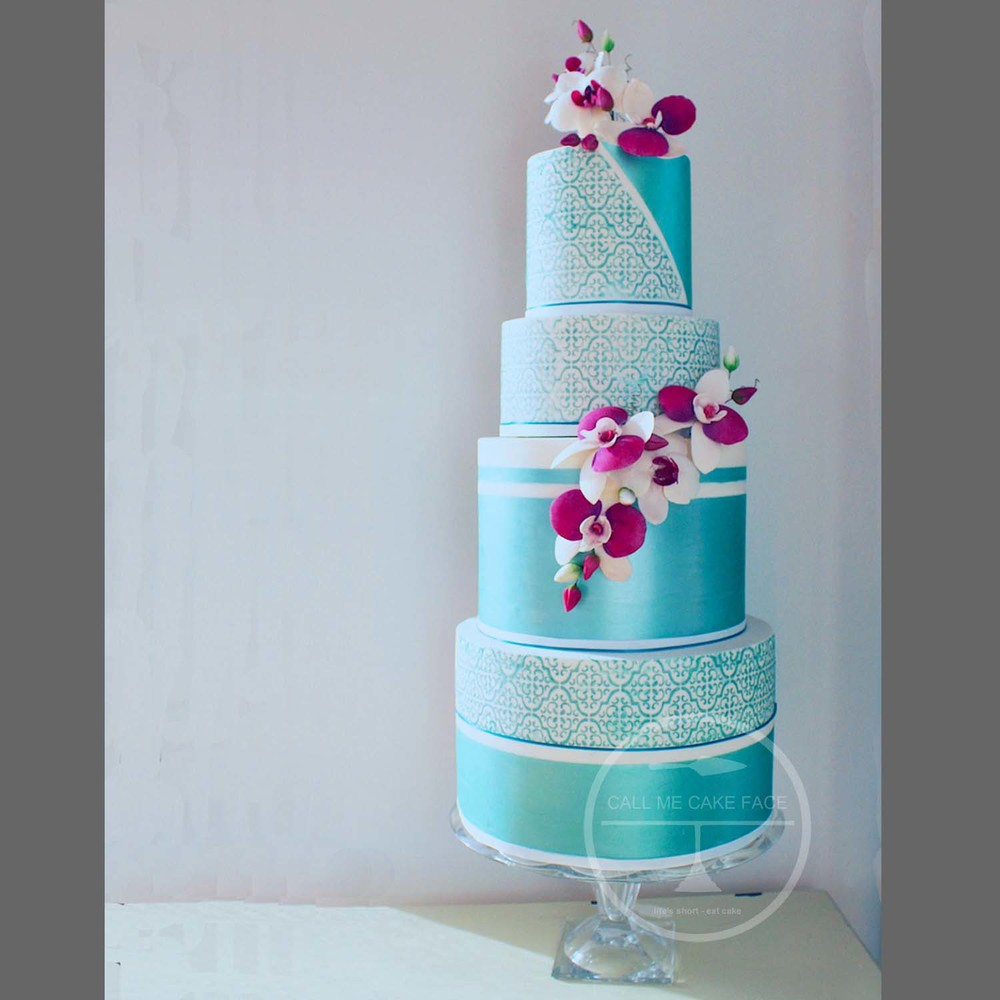 Contemporary Orchid Wedding Cake