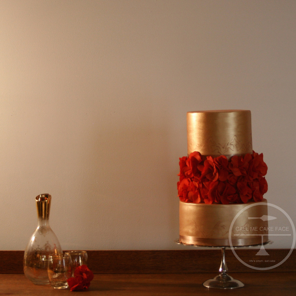 Gold and Red Classic Scrunch Rose Cake