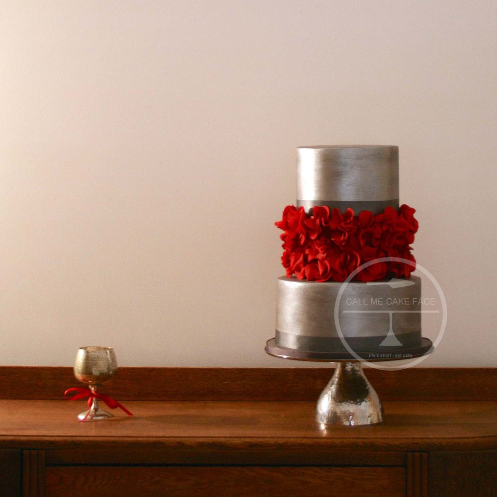 Silver and Red Wedding Cake