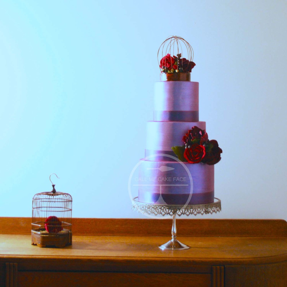 Violet and Red Wedding Cake