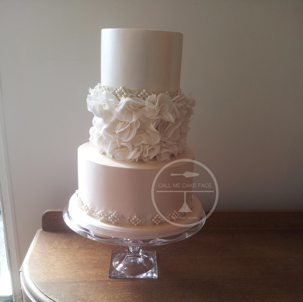 Ivory and White Wedding Cake