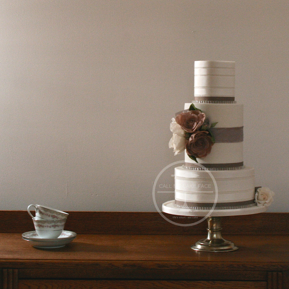 Beige and Ivory Ribbon Wedding Cake