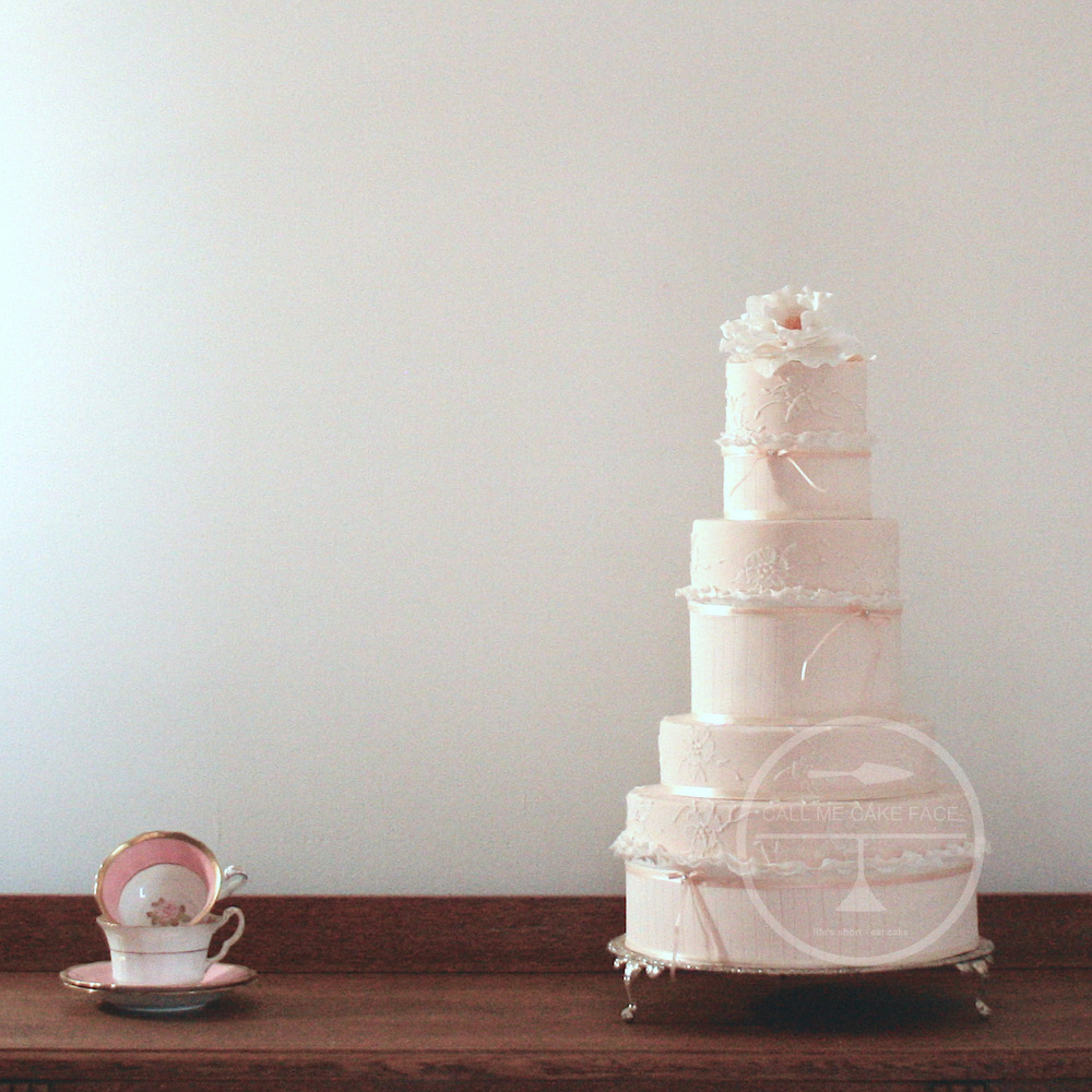 Peaches and Ruffles Wedding Cake