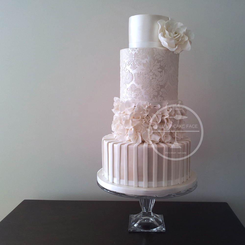 Lace and Scrunch Rose Wedding Cake