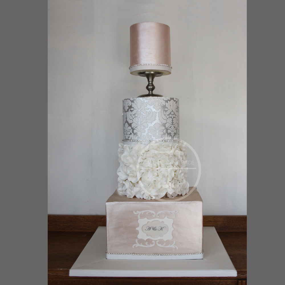 Champagne and Silver Wedding Cake