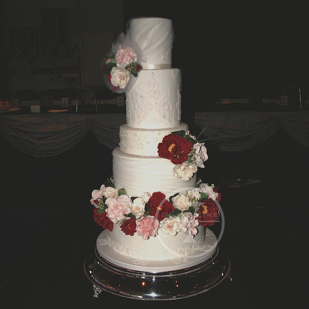 Sugar Rose and Tulle Wedding Cake