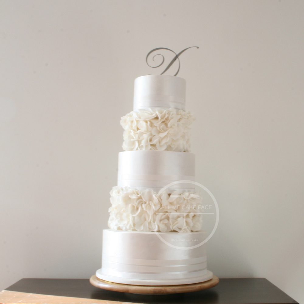 Pearl and Rose Wedding Cake