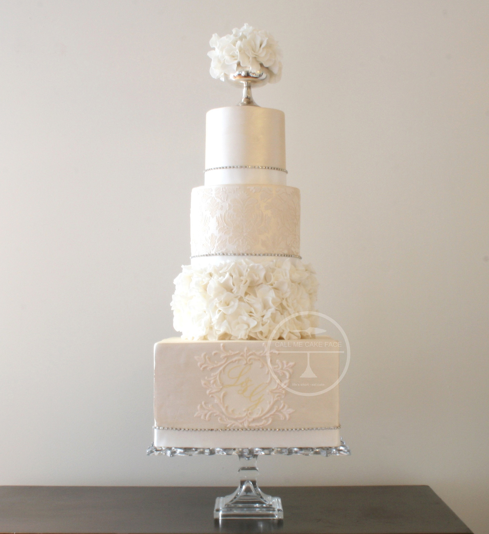 Ivory Lace Wedding Cake
