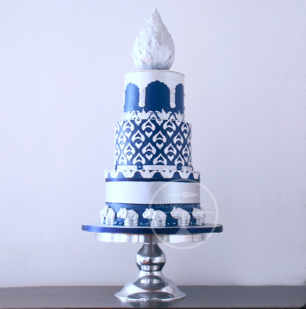 Blue and Silver India Inspired Wedding Cake