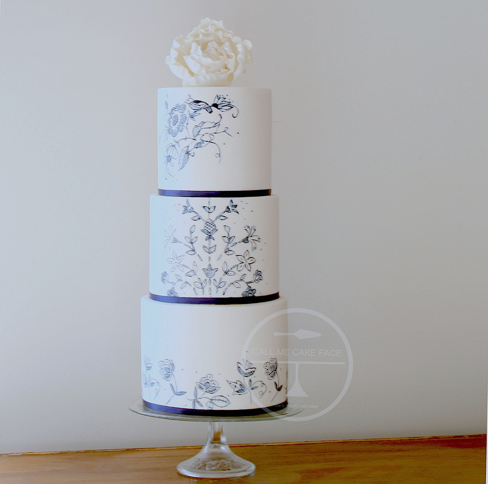 Blue and White Painted Wedding Cake