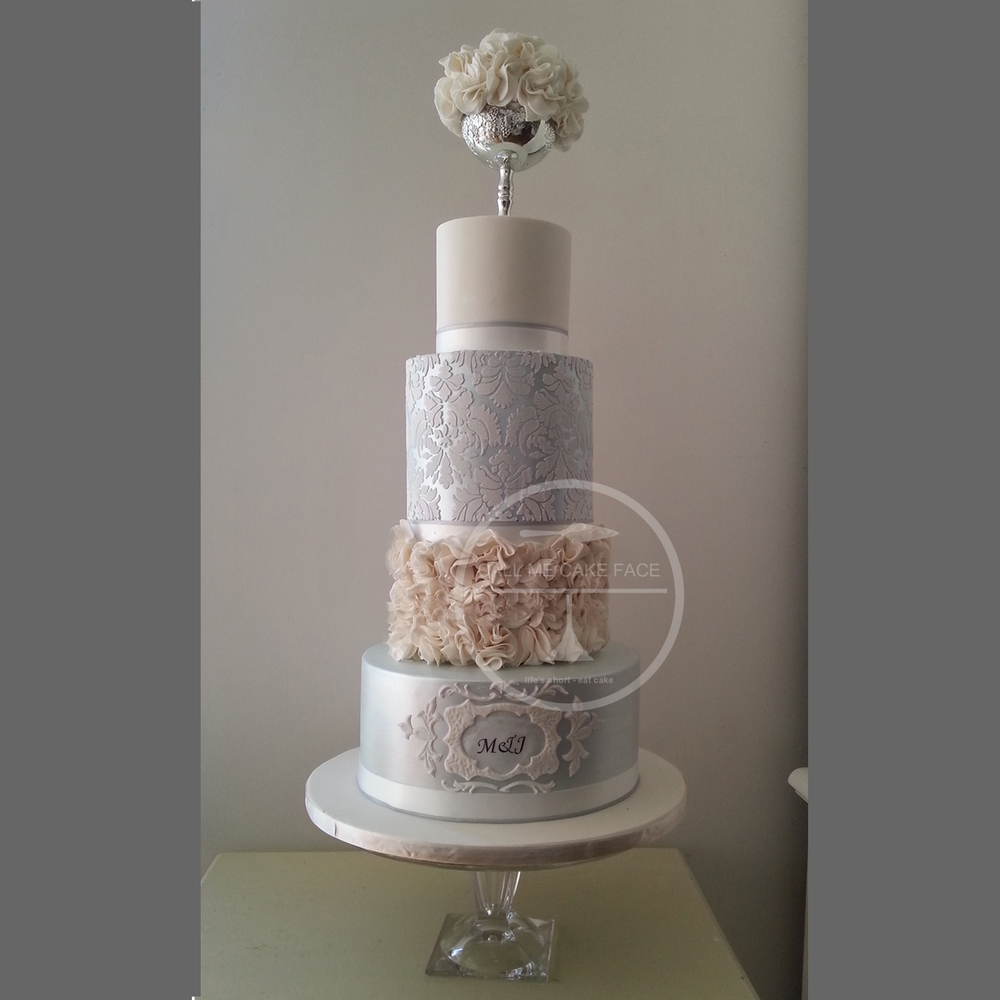 Pale Blue and White Wedding Cake