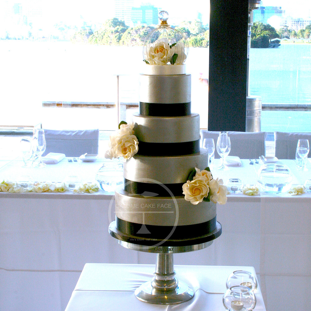 Silver and Ivory Rose Wedding Cake