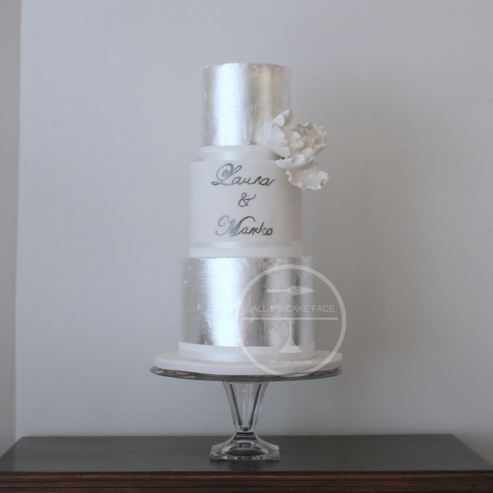 Silver Leaf Wedding Cake