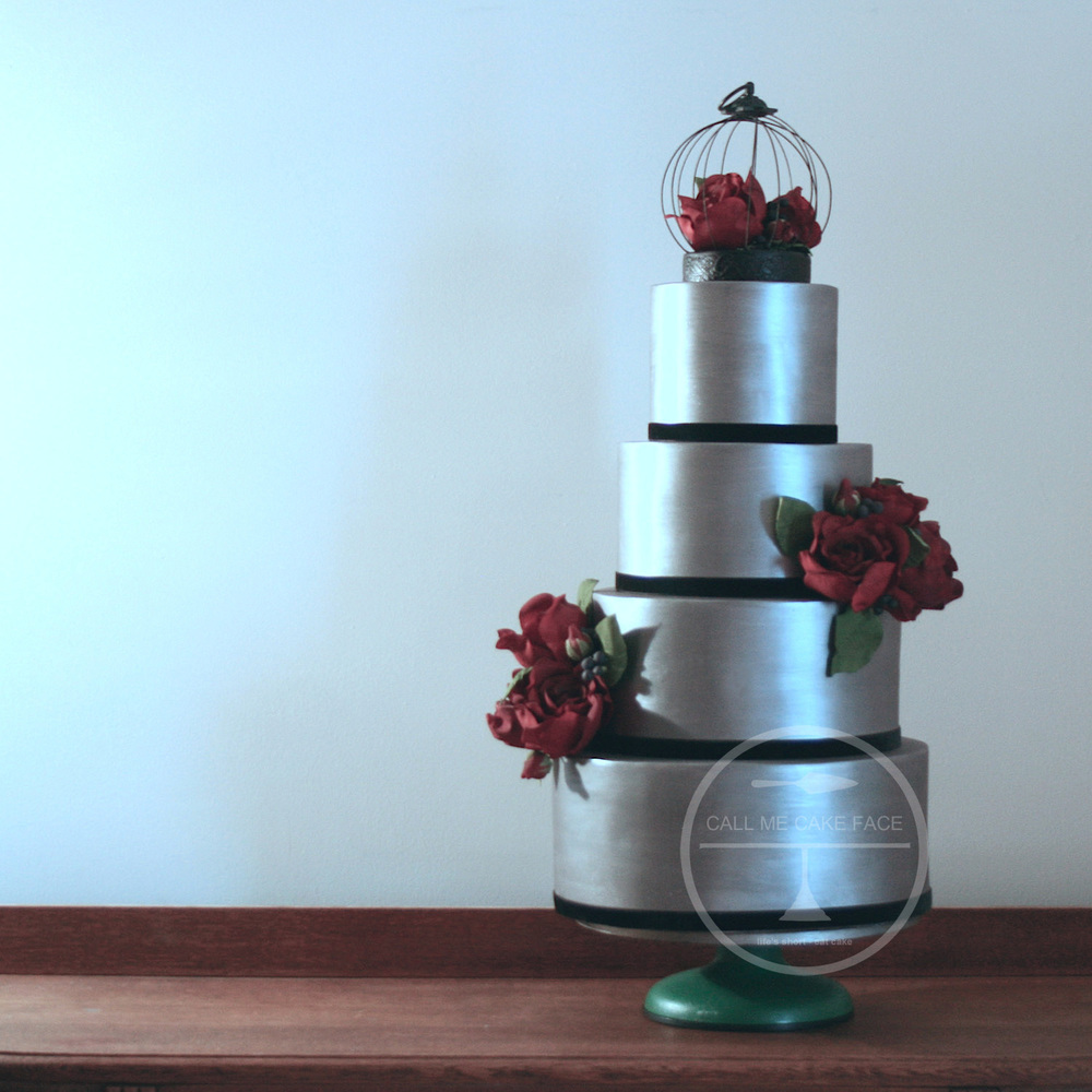 Silver and Red Rose Wedding Cake