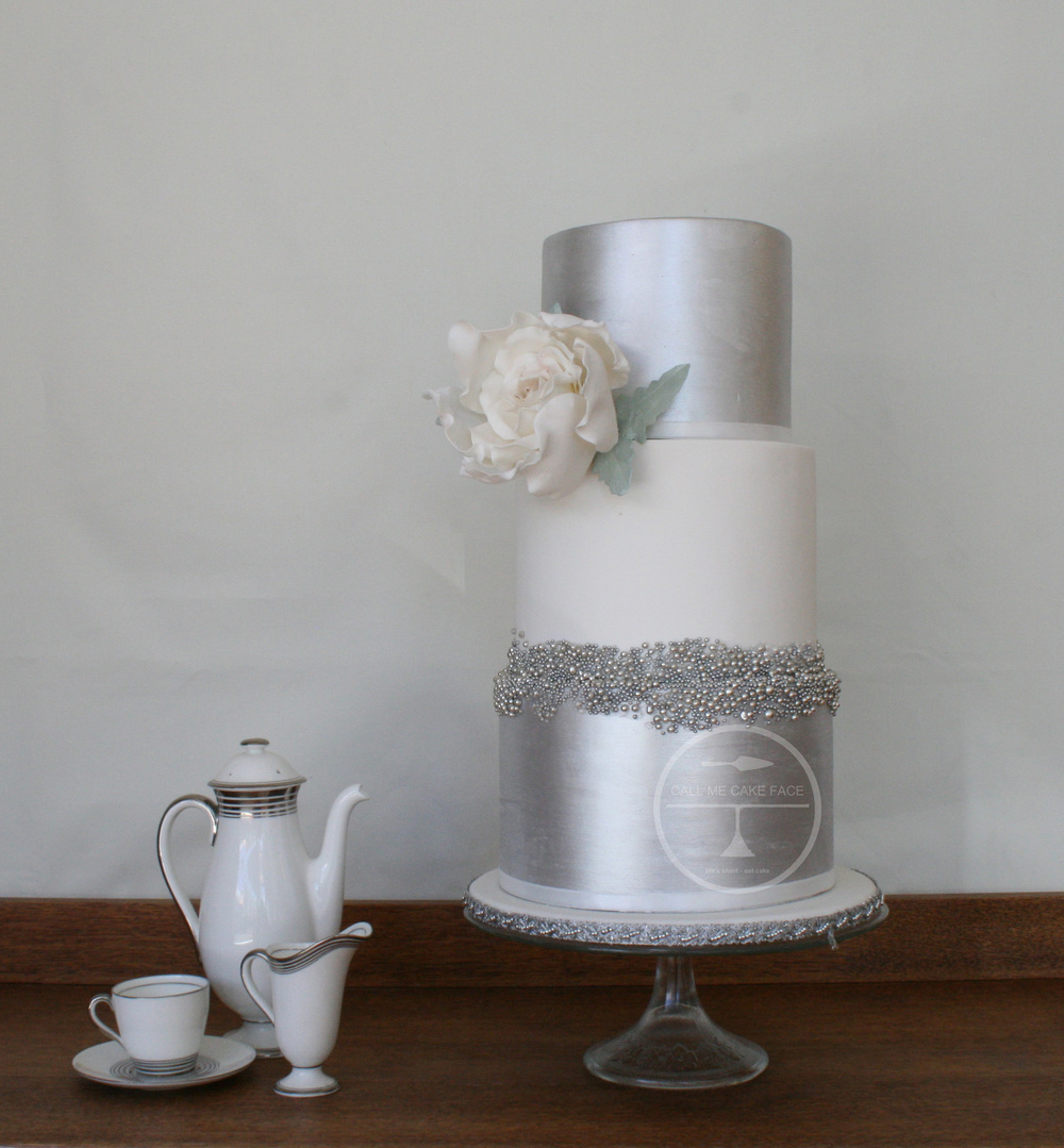 Textured Silver Wedding Cake