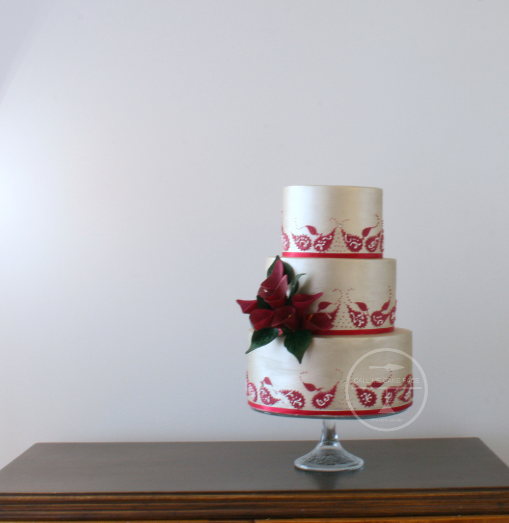 Paisley and Silver Wedding Cake