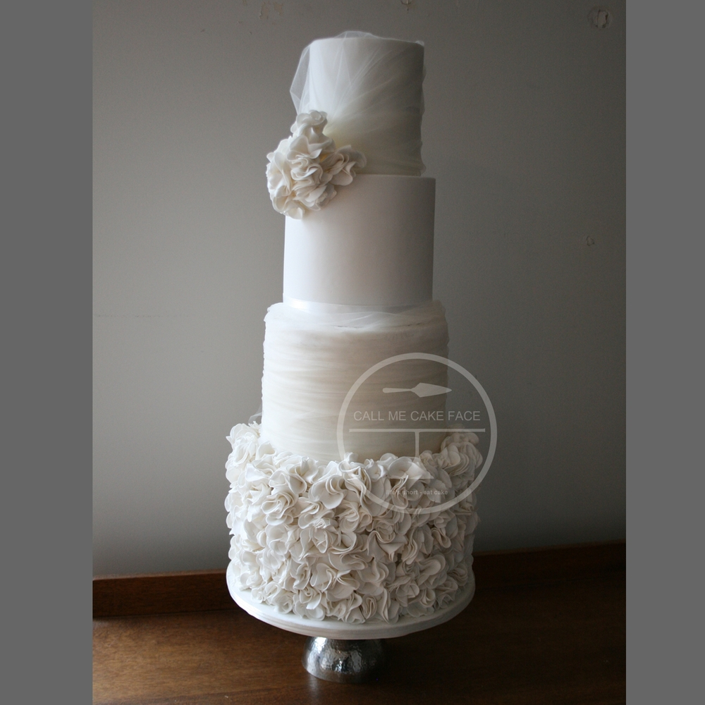 Tulle and Scrunch Rose Wedding Cake