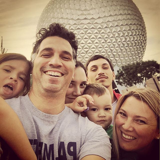 "Everybody say ""Giant Golf Ball""!! #epcot #waltdisneyworld #vacation #familyselfie"