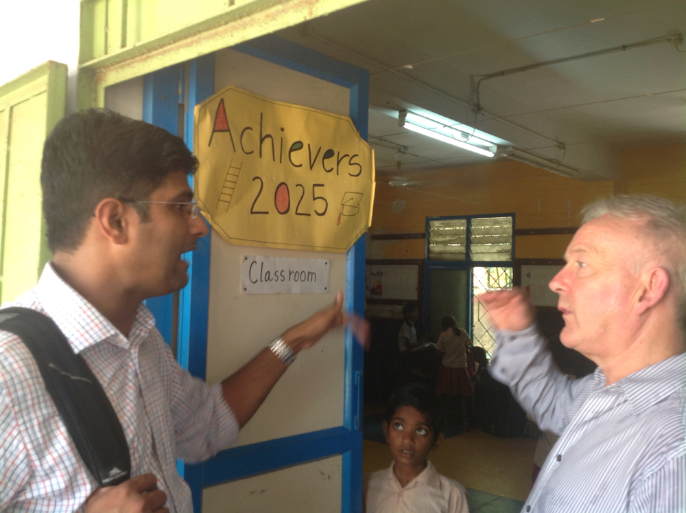 Srini showing me around Chennai Primary School